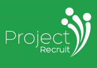 Project Recruit Logo WHITE OUT ON GREEN